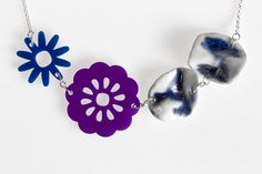Acrylic Flower and Folded Porcelain Necklace — Indigo & Violet Navy Blue Flowers, Hand Molding, Acrylic Flowers, Deep Purple, Sterling Silver Chains, Jewelry Collection, Porcelain, Clay, Unique Jewelry
