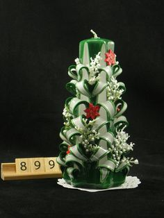 Hand Carved Candle White and Green, Christmas Tree Carve with poinsettias, 7 Inch, OOAK - https://www.etsy.com/listing/261038098/hand-carved-candle-white-and-green?utm_source=socialpilotco&utm_medium=api&utm_campaign=api  #candles #pillar