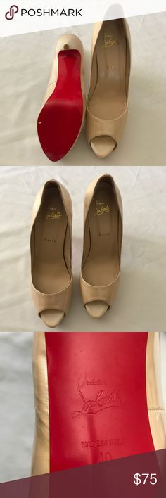 Nude Red-bottom peep-toe pumps Red bottoms. Peep toe. Size 10. Nude color. Goes with everything. Well made. Brand for exposure. Christian Louboutin Shoes Heels