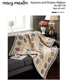 Crochet this afghan with our free pattern using Mary Maxim Starlette yarn. Knitted Afghans, Afghan Crochet Patterns, Crochet Blankets, Baby Blankets, Crochet Pillow, Knit Crochet, Free Crochet, Manta Crochet, Pattern Books