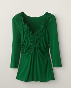 Smocked V-Lined Top  comes in 3 other colors   note shapely side-ruchings flattering