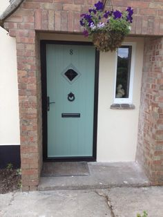 Chartwell Green Solidor Flint One with antique furniture Cottage Front Doors, Cottage Windows, Green Front Doors, Front Door Colors, House Windows, Windows And Doors, Exterior Door Colors, Exterior Doors, Chartwell Green Front Door