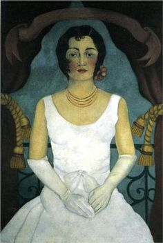 Portrait of a Woman in White  Retrato de una Mujer de Blanco  artist Frida Kahlo