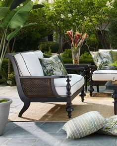 Shop Hemingway Plantation Settee from Lane Venture at Horchow, where you'll find new lower shipping on hundreds of home furnishings and gifts. Outdoor Sofa, Indoor Outdoor, Outdoor Living, Outdoor Decor, Fresco, Patio Furniture Sets, Furniture Layout, Furniture Ideas, Modern Furniture