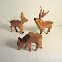 Vintage Carved Wood Deer  3 Hand carved Hand by Antiques4You, $24.95