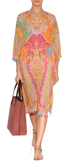 An allover characteristic paisley print lends an iconic look to this breezy silk tunic from Etro #Stylebop