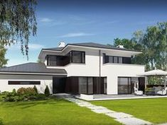 DOM.PL™ - Projekt domu PE Przemek CE - DOM NS1-31 - gotowy koszt budowy Modern House Design, Home Fashion, Home Goods, Sweet Home, Construction, Patio, Traditional, Contemporary, Mansions
