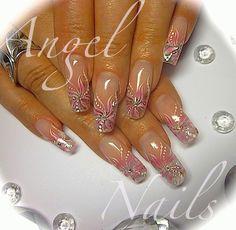 beautiful elegant bridal nail design clear tips