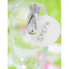 Oiseau Argent Pailleté sur Pince 4 cm les 2