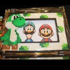 Yoshi - Super Mario photo frame perler beads by joshua_mzn