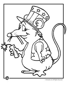 Firecracker mouse coloring page for 4th of July #preschool #homeschool #kindergarten #printable