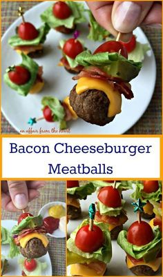 Bacon Cheeseburger Meatballs - Perfect appetizers – meatballs stacked with all of the ingredients for a deluxe bacon cheeseburger! #BackYourSnack #Ad From An Affair from the Heart