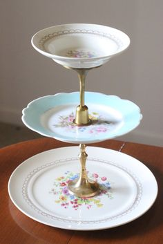3 Tier Floral Plate Jewelry Stand by SamMorrisDesigns on Etsy, $24.99