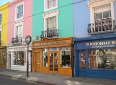 Portobello Road, London I love the use of outdoor paint on all these lovely storefronts Beautiful London, Beautiful Places, London Shopping, Europe Continent, Adventures Abroad, Holland Park, Outdoor Paint, Shop Fronts, London Calling