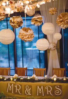 Tissue poms mixed with paper lanterns look beautiful. Learn how to make them...http://www.nashvillewrapscommunity.com/blog/2010/07/how-to-make-tissue-flower-pom-poms/