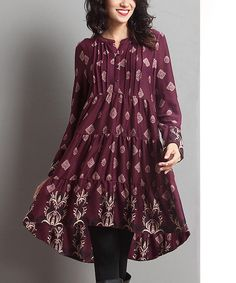 This Plum Notch Neck Hi-Low Dress by Reborn Collection is perfect! #zulilyfinds