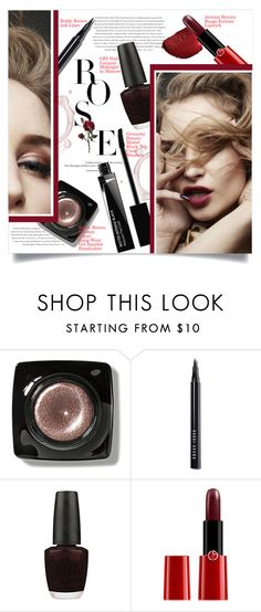 """Red Rose"" by mila-me ❤ liked on Polyvore featuring beauty, Envi, Bobbi Brown Cosmetics, OPI, Armani Beauty, Givenchy, Beauty, red, beautiful and redlips"