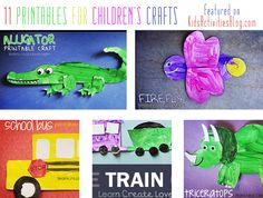 11 Free Printables for Kid Crafts-love the train. Transportation and animals crafts.