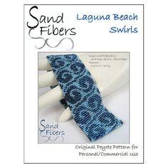 Peyote Pattern - Laguna Beach Swirls Peyote Cuff / Bracelet  - A Sand Fibers For Personal/Commercial Use PDF Pattern
