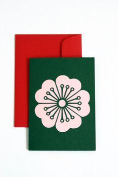n.4 gift card sakura with envelope plotter cut with envelope, japanese flowers, papercut card