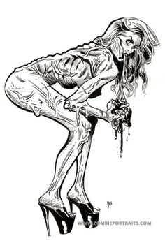 Pin Up Zombie Girls Drawings | Pin Up Zombie Girls - Bent over Blood and Guts - Zombie Artist Rob ...