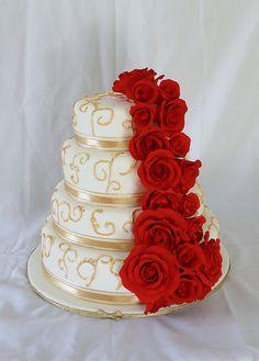 Gold scroll red rose wedding cake