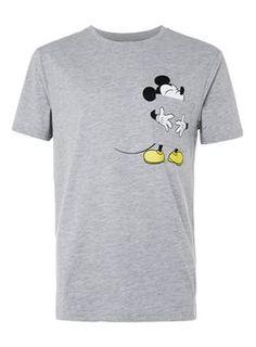 Grey Marl Mickey Mouse Tongue Print T-Shirt