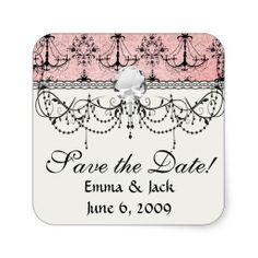 vintage black chandelier damask on lovely pink square sticker