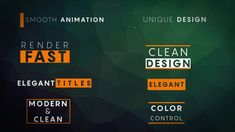 The 8 Minimal Titles After Effects template features 8 animated titles and it's very easy to use and customize. Replace the placeholder text with your text, change the colors and hit render. Quickly and easily create smooth and modern title animations for your next video.