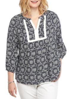 a692c44e63ddf Crown   Ivy Floral Split Crochet Neck Keyhole Peasant Top 3 4 Sleeve Navy  Size S