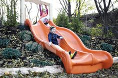 The slide itself isnt natural, but I love the idea of using hills to eliminate t…, – natural playground ideas Playground Slide, Backyard Playground, Playground Ideas, Backyard Patio, Outdoor Play Spaces, Outdoor Fun, Outdoor Play Equipment, Outdoor Classroom, Kids Corner