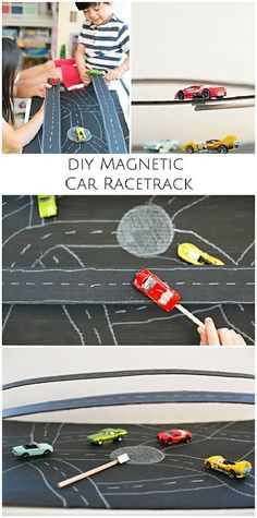 Build an easy cardboard magnetic car racetrack. Fun way to teach kids about magnetic forces! STEM project for kids.