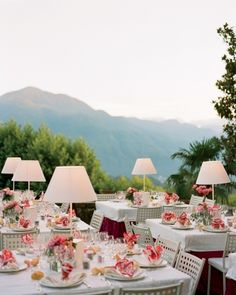 """See the """"Cafe Lighting"""" in our Outdoor Wedding Lighting galleryStyled like a sidewalk cafe, the tables at this Tuscan reception were adorned with sleek lamps that were then switched on at dusk Place Settings, Table Settings, Sidewalk Cafe, Wedding Decorations, Table Decorations, Table Centerpieces, Before Wedding, Martha Stewart Weddings, Outdoor Lighting"""