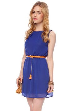 Beverly Belted Tank Dress in Royal $32 at www.tobi.com