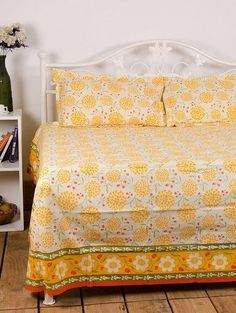Beautiful Yellow Floral double Bedsheet from Urban Buy