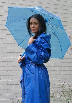 Light Blue PVC Raincoat & Umberella