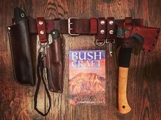 """DIY'd and built myself a bushcraft belt but lots of work to complete the """"kit"""". Next project will be to build some leather belt pouches. All the leatherwork is mine- belt, leather knife/saw sheaths, axe carrier, lanyard belt loops-all inspired by work from many great leather craftsman- thank you…"""