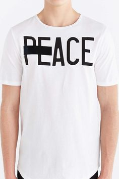 Poolhouse Peace Curved Hem Tee