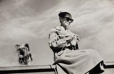Audrey Hepburn and her dog on the set of The Unforgiven; Durango, Mexico, 1959 (Inge Morath)