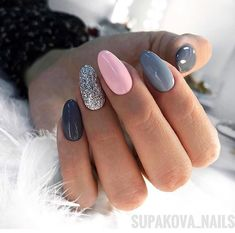 In search for some nail designs and ideas for your nails? Here's our listing of must-try coffin acrylic nails for stylish women. Pink Gel Nails, Gray Nails, Cute Acrylic Nails, Nail Manicure, Love Nails, Nail Polish, Gelish Nails, Grey Nail Art, Style Nails