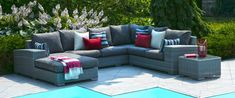 Kick back, relax, and enjoy the comfort that the Miami Collection sectional has to offer. Whether entertaining guests on the patio or enjoying a nice. Bali Furniture, Garden Furniture Sets, Outdoor Furniture Sets, Furniture Design, Ensemble Patio, Gazebo, Outdoor Rooms, Outdoor Decor, Table Cafe