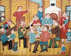To Your Health by Alevtina Dmitriyevna Pyzhova, size: 47cmX58cm. Painting matierial: Oil on canvas. Naive art