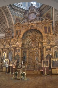 Interior of the Andreevsky Cathedral (Cathedral of Saint Apostle Andrei) in Vasilievsky Ostrov neighborhood. Saint Petersburg, Russia