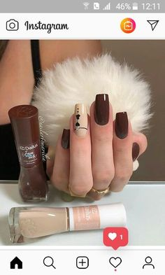 color tip nails Uñas Color Cafe, Cute Nails, Pretty Nails, Nail Paint Shades, Nail Polish Style, Girls Nails, Luxury Nails, Stylish Nails, Beautiful Nail Art