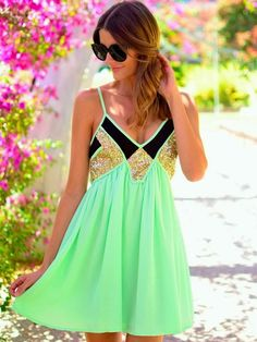 Adorable Flowy Mint Mini Dress