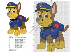 Paw Patrol Chase free cross stitch pattern 61x90