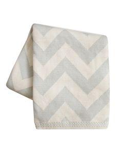 Chevron Knit Throw Blanket, Stone Grey
