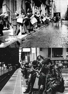 a century separating these images (going to work)