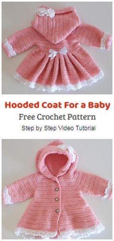 Crochet Baby Sweater Pattern, Crochet Baby Jacket, Crochet Baby Sweaters, Baby Sweater Patterns, Baby Girl Sweaters, Baby Afghan Crochet, Knitted Baby Clothes, Baby Clothes Patterns, Baby Patterns