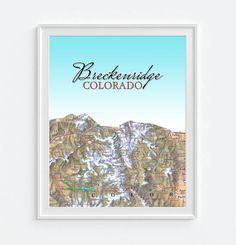 Breckenridge Colorado Mountain Vintage Map ART by droppedpinshop